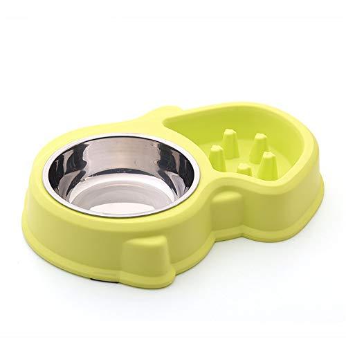 Perro mascota gato cuenco Tazón antideslizante de uso doble del tazón de fuente del Anti-ácaro del animal doméstico de la...