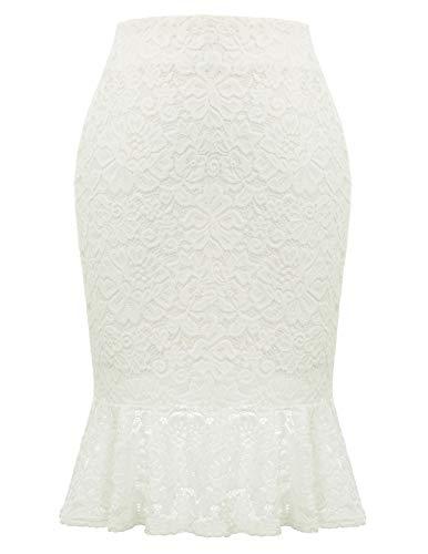 Women Elastic Waist Office Pencil Skirt Mermaid Lace Party Evening Skirt White L