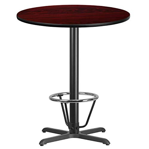 (MFO 36'' Round Mahogany Laminate Table Top with 30'' x 30'' Bar Height Table Base and Foot Ring)