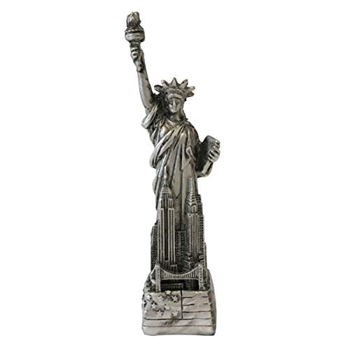 """Jproducts Cold Cast Silver NY Statue of Liberty Collectible Figure (Silver, 4 1/8"""" x 1"""")"""