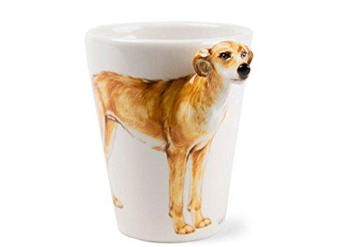 Lurcher 8oz Light Brown Handmade Coffee Mug (10cm x 8cm)