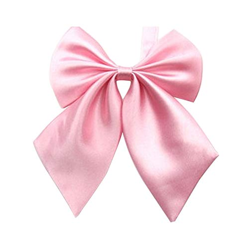 (Gliterstar Women's Solid Color Bow Tie School Student Sailor Suit Bowknot Adjustable Ribbon (Pink) )