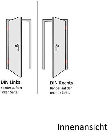 DIN Rechts Nebeneingangst/ür mit Dr/ückergarnitur Innen/öffnend 2-fach-Verglasung verschiedene Ma/ße wei/ß 100 x 220 cm