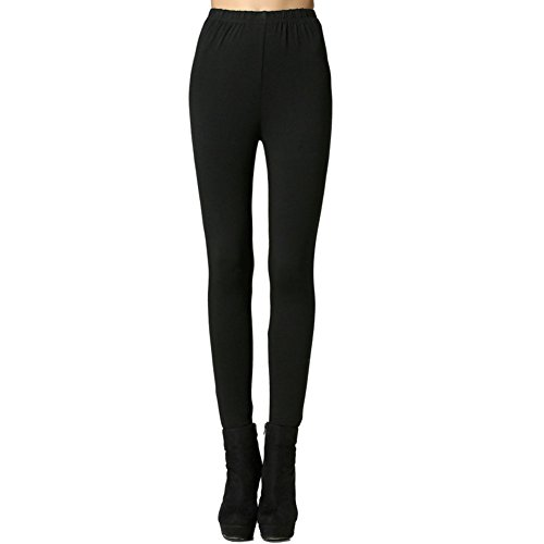 Plusasa Women's Cotton Warm Thick Tight Body Shaping Legging, Black, XL
