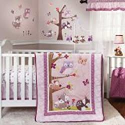 Bedtime Originals Lavender Owls Woods 3 Piece Bedding Set for girls