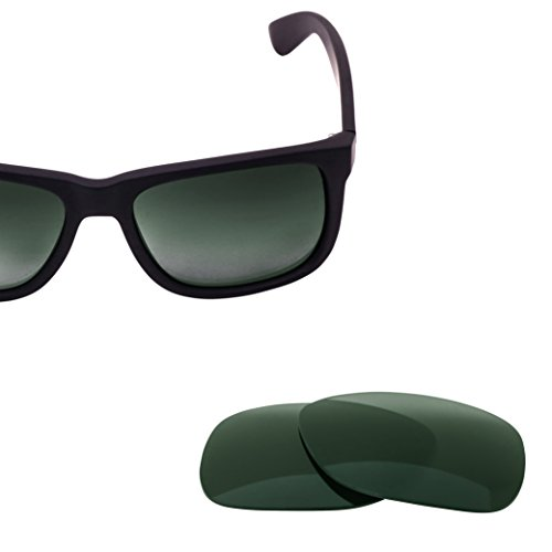 LenzFlip Replacement Sunglass Lenses for Ray Ban JUSTIN RB4165 (54mm) - G15 Green Polarized Lenses RB - 54 Rb4165