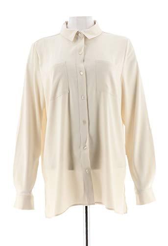 Susan Graver Stretch Peachskin Button Big Shirt French Vanilla 12 New A271652 from Susan Graver