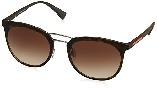 Prada Men's Sport 02SS U616S1 Square Sunglasses, Havana Rubber, - Sunglasses Name Brand