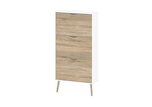 Tvilum Diana 3 Drawer Shoe Cabinet, White/Oak Structure - 41