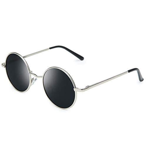 Joopin-Round Retro Polaroid Sunglasses Driving Polarized Sun Glasses Men Steampunk Vintage (Silver - Glasses Round Mens