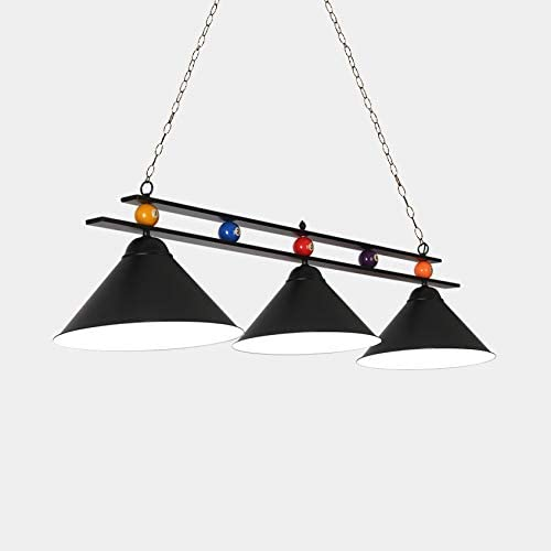 NIUYAO - Lámpara de techo colgante para mesa de billar con 3 luces y pantalla de cristal transparente, decoración especial de bolas de billar, lámpara de araña para sala de juegos, sala