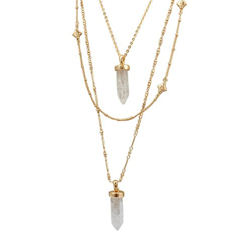 Jane Stone Fashion Tribal Triple Layers Long Necklace with Crystal Quartz Pendant Statement Trendy Boho Layered Jewelry for Women Teen Girls (Fn1443-Gold Tone) (Triple Layered Necklace)