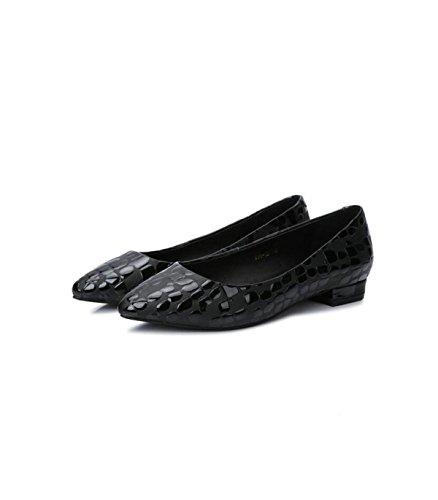 Femmes L'état D'été Bas Printemps Brut En Pointues GRRONG Cuir En Des Modèles Et Des Black Chaussures Cuir Avec Talons wBaA1Xq