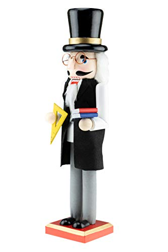 Clever Creations Traditional Wooden Professor Christmas Nutcracker | Black and Gray Outfit Holding Books and Protractor | Festive Christmas Decor | Great for Any Holiday Collection | 15