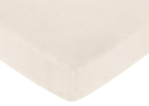 Sweet Jojo Designs Chocolate Teddy Bear Fitted Crib Sheet for Baby and Toddler Bedding Sets - Cream Microsuede ()