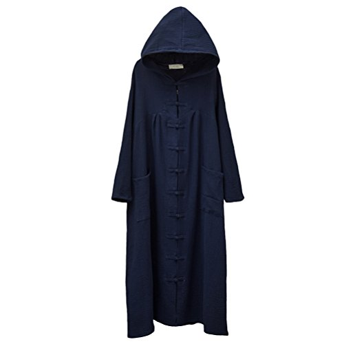 [Aeneontrue Women's Long Sleeve Hooded Frog Button Maxi Coat With Pockets Navy Blue] (Button Front Hooded Coat)