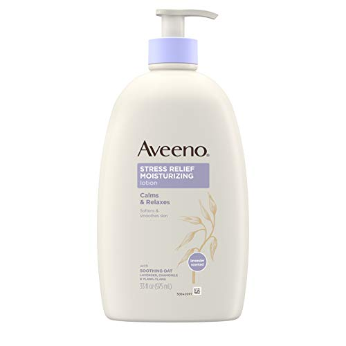 Aveeno Stress Relief Moisturizing Body Lotion with Lavender, Natural Oatmeal and Chamomile & Ylang-Ylang Essential Oils to Calm & Relax, 33 fl. oz