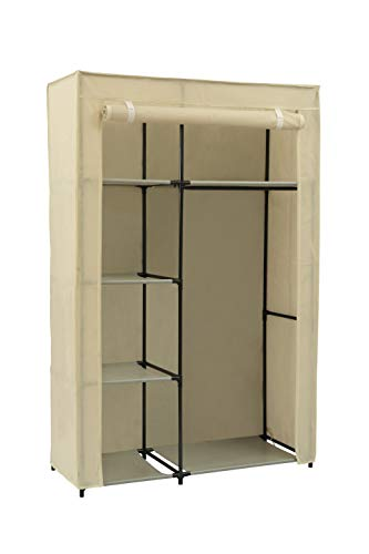 MULSH Closet Wardrobe Portable Clothes Storage Organizer with Metal Shelves and Dustproof Non-Woven Fabric Cover in Beige,41.73x17.72x63.35 in