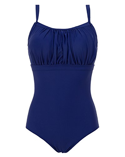 Piece One Top Swimsuit Halter (Lorasea Women Shirred Ruched One Piece Swimsuit Slimming Tummy Control Bandeau Bathing Suits Beachwear (Royal Blue,XXXL))