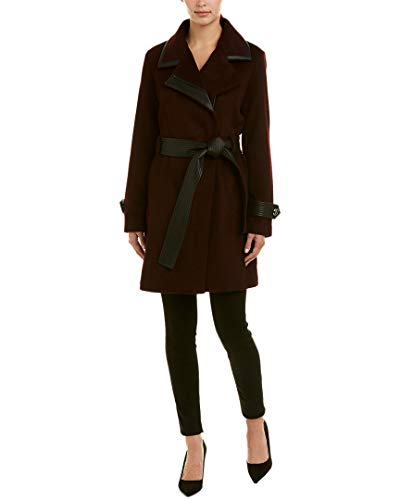 Badgley Mischka Women's Wool Mid Length Wrap Coat with Faux Leather Trim, Rum Raisin, Medium