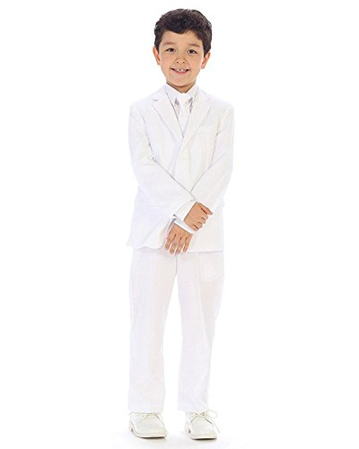 iGirldress Boys Slim Fit 5-Piece Formal Suit Set with Matching Neck Tie White Size 8 -