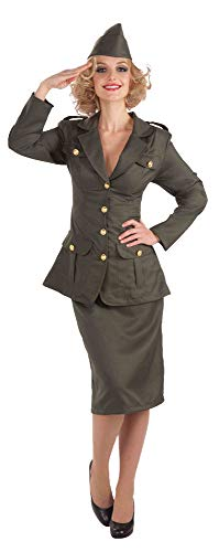 Forum Novelties Women's WWII Army Gal Costume, Green, -