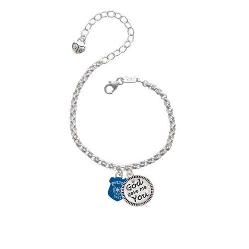 Blue Policeman's Badge God Gave Me You Charm Bracelet