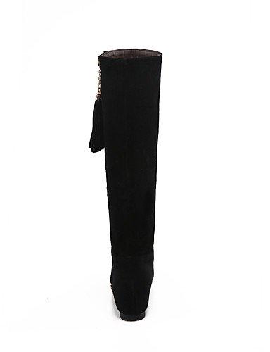 Punta 5 Mujer Uk6 La Black us7 Cuña Vestido Negro 5 Redonda Botas Cuñas Moda A Cn38 Xzz Cn39 Casual Eu38 Black Eu39 Zapatos Uk5 Vellón us8 Tacón De FHYqE