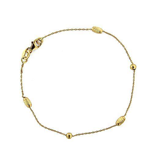 18k Yellow Gold Polished Beads and oval Diamond cut Sphere Bracelet 6 inches by Amalia