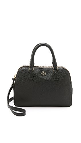 Tory Burch Women's Robinson Small Double Zip Satchel, Black, One Size
