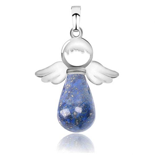 (Xileg Natural Stone Angel Wings Pendant for Necklace Pink Quartz Onyx Silver-Color Water Drop Pendants Female Jewelry Gift E949 Lapis Lazuli)