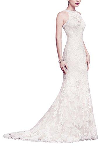 charmante Weiß Spitze elegante und Schoene Rundhalsausschnitt GEORGE Brautkleid und aermelloses BRIDE RwS7xqp