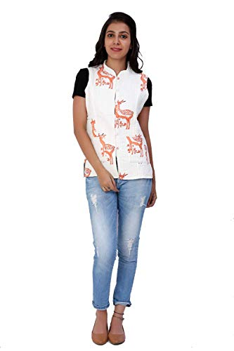 (Gleamberry Womens White Hand Block Printed Cotton Sleevless Quilted Jacket)