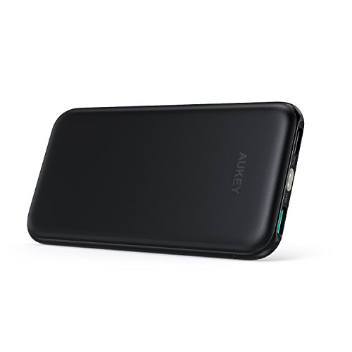 AUKEY 10000mAh Portable Charger, Slimline Design Power Bank Dual-Port 2.4A Output Battery Pack for iPhone X / 8 / Plus, Samsung Galaxy Note8 and More