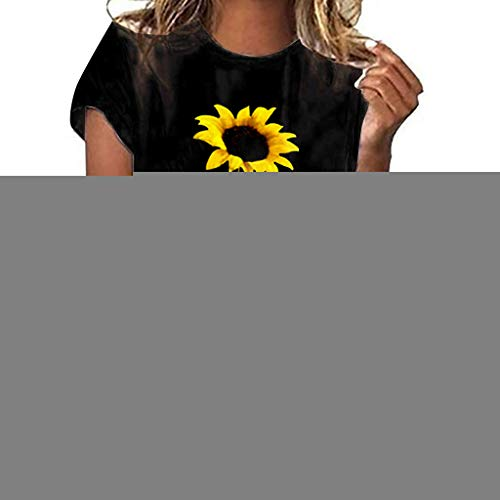 (TUSANG Women Tees Plus Size Sunflower Print Short Sleeved T-Shirt Blouse Tops Slim Fit Comfy Tunic(Black,US-6/CN-M))