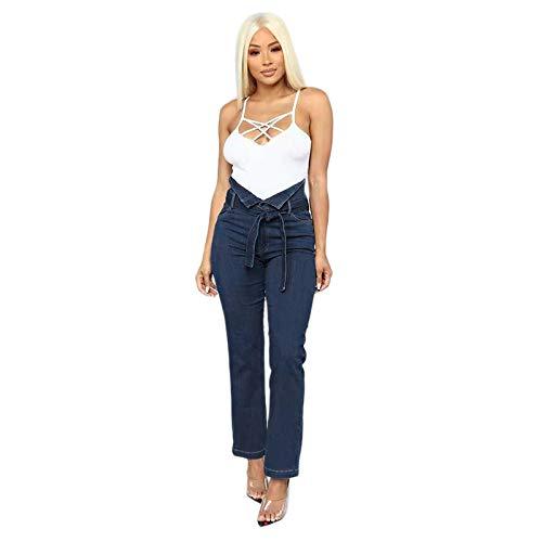 SODIAL Moda Para Mujer Cintura Alta Pantalones Vaqueros ...