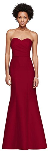 David's Bridal Structured Mikado Strapless Long Bridesmaid Dress Style F19279, Apple, 10 (Red Bridal Dresses)