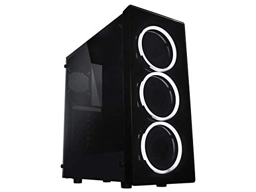 Raidmax NEON Gaming Computer Case See-Through Front and Side Panel with 3 White LED Front Fans Pre-Installed (Raidmax Computer Case)