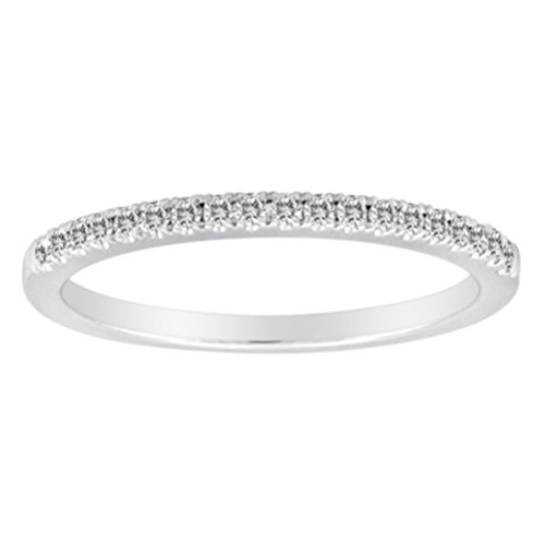First Image Design 14K White Gold Ring Band with Round Diamonds ½ Way Around totaling 0.15 Carats (Wedding Ring With Diamonds All The Way Around)