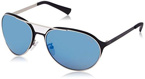 Police Men's S8951M 63502B Aviator Sunglasses, Matte Palledium,Black & Blue Mirror, 63 - Police Eyewear