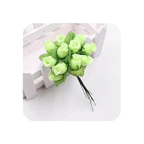 Mini 2cm 12Pcs DIY Silk Rose Bouquet Flower Fake Flower Artificial Flowers for Wedding Decoration Garland Valentines Day Gift.JW,E Green
