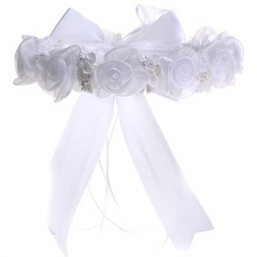 (KID Collection Girls Angelic Organza Rose Flower Girl Halo White (kid CR52))