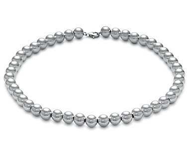 "Designer Inspired 10mm LARGE HOLLOW SHINY POLISHED Italian Sterling Silver Round BALL Bead Necklace 18""in"