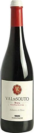 1 botella de Vino Tinto Val de Souto. Vino tinto origen España, Galicia. Denominación de origen. Uva: Mencía, Brancellao y Sousón. 75 cl por botella. Vino tinto gallego
