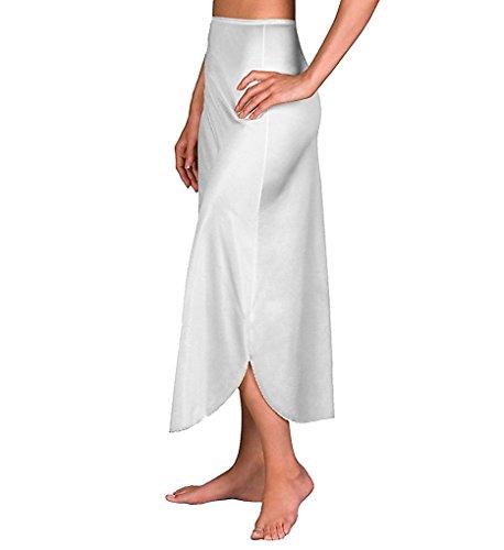 Velrose Daywear Double Slit 1/2 Slip (2116) 1X/White - Nightgown Tea Length