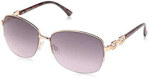 Rocawear Women's R3291 Rgdan Non-Polarized Iridium Round Sunglasses, Rose Gold Animal, 65 mm