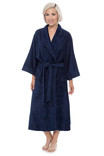 Organic Terry Robe (Women's Luxury Terry Cloth Bathrobe - Bamboo Viscose Robe by Texere (Ecovaganza, Midnight Blue, Small/Medium) Special Mothers Day Gift WB0101-MID-SM)