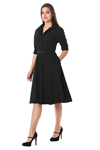 eShakti FX Cotton poplin Belted Shirtdress Short ()