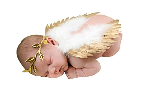 chinatera Newborn Angel Feather Wings Photography Props with Crystal Leaves Headband (Gold]()