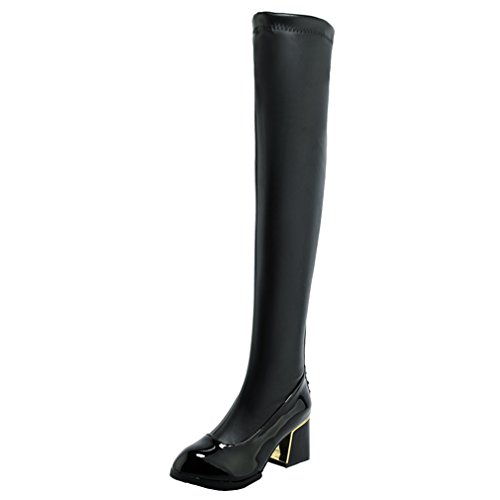 ENMAYER Women PU Material Sexy Retro Party Round Toe Thick Block Heel Over the Knee Boots Black LeFM7X
